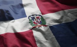 Dominican Republic Flag Rumpled Close Up.  stock photography