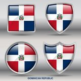 Dominican Republic Flag in 4 shapes collection with clipping path stock photos
