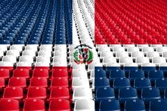 Dominican Republic flag stadium seats. Sports competition concept. Dominican Republic flag stadium seats. Sports competition concept royalty free stock photo