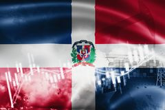 Dominican Republic flag, stock market, exchange economy and Trade, oil production, container ship in export and import business. And logistics, background vector illustration