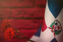 Dominican Republic flag for honour of veterans day or memorial day with two red carnation flowers. Glory to the Dominican Republic. Dominican Republic flag with royalty free stock photography