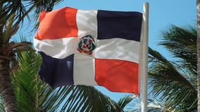 Dominican Republic Flag Waving In Slow Motion With Palm Trees In The Background. Close up of the Dominican Republic flag waving in slow motion with palm trees in stock footage