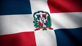 Dominican Republic Flag. Flag of the Dominican Republic waving at wind.  royalty free stock images
