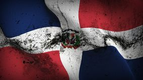 Dominican Republic grunge dirty flag waving on wind. Dominican Republic background fullscreen grease flag blowing on wind. Realistic filth fabric texture on Stock Photo