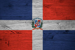 Dominican Republic national flag coat arms painted old oak wood Royalty Free Stock Image