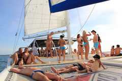 Dominican Republic - October 10, 2012: party on the boat during the tour on the island. Royalty Free Stock Photo