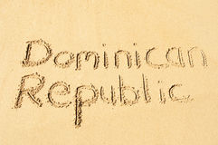 Dominican Republic. A picture of the words Dominican Republic  drawn in the sand Royalty Free Stock Photography