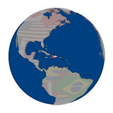 Dominican Republic on political globe Stock Photography