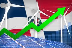 Dominican Republic solar and wind energy rising chart, arrow up - modern natural energy industrial illustration. 3D Illustration. Dominican Republic solar and stock photography