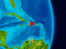 Dominican Republic from space. Country of Dominican Republic in red on planet Earth. 3D illustration. Elements of this image furnished by NASA Stock Images