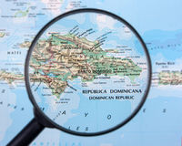 Dominican Republic under magnifier royalty free stock images