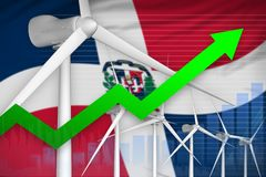 Dominican Republic wind energy power rising chart, arrow up - environmental natural energy industrial illustration. 3D. Dominican Republic wind energy power stock images