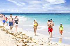 Dominican tourist beach Arena Gorda, Atlantic coast royalty free stock photos