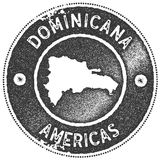 Dominicana map vintage stamp. Retro style handmade label, badge or element for travel souvenirs. Dark grey rubber stamp with country map silhouette. Vector Stock Image