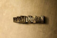 DOMINICANO - el primer del vintage sucio compuso tipo de palabra en el contexto del metal ilustración del vector