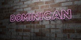 DOMINICANO - Señal de neón que brilla intensamente en la pared de la cantería - 3D rindió el ejemplo común libre de los derechos stock de ilustración