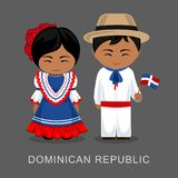 Dominicans in national dress with a flag. vector illustration