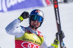 DOMINIK PARIS AIE participa na corrida para a raça SUPER de G o MENÂ dos FINAIS do MUNDO do ESQUI do FIS Ski World Cup alpino fotografia de stock