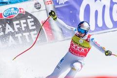 DOMINIK PARIS AIE participa na corrida para a raça SUPER de G o MENÂ dos FINAIS do MUNDO do ESQUI do FIS Ski World Cup Finals alp foto de stock
