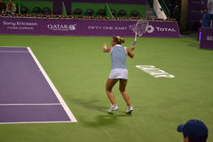 Dominika Cibulkova. DOHA-QATAR: FEBRUARY 17: Tennis Player Dominika Cibulkova at Qatar Total Open on February 17, 2012 in Doha, Qatar. The event was held from stock photography