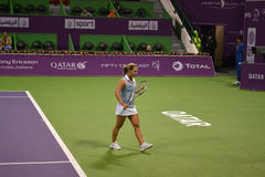 Dominika Cibulkova. DOHA-QATAR: FEBRUARY 17: Tennis Player Dominika Cibulkova at Qatar Total Open on February 17, 2012 in Doha, Qatar. The event was held from royalty free stock images