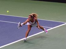 Dominika Cibulkova plays a backhand in Fed Cup match, Slovakia Stock Photo