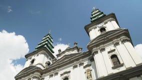 Dominikanische Kirche, Kathedrale der Unbefleckter Empf?ngnis der heiligen Mutter des Gottes in Ternopil, Ukraine 19-07-2018 stock footage