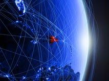 Dominikanische Republik auf blauer blauer digitaler Erde lizenzfreies stockfoto