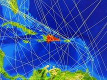 Dominikanische Republik auf Erde mit Netz stockbilder