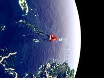 Dominikanische Republik auf Nachterde lizenzfreie stockfotografie