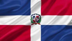 Dominikanische Republik fahnenschwenkend mit dem Wind, Illustration 3D Stockbilder
