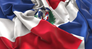 Dominikanische Republik-Flagge gekräuselter schön wellenartig bewegender Makroabschluß-cc$u Lizenzfreies Stockfoto