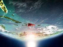 Dominikanische Republik mit Sonne auf Planet Erde Stockfoto