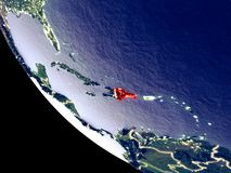 Dominikanische Republik vom Raum auf Erde lizenzfreie stockbilder
