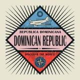 Dominikanska republiken för stämpel- eller tappningemblemtext, upptäcker Woen Arkivbilder