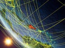 Dominikanska republiken från utrymme med nätverket vektor illustrationer