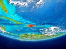Dominikanska republiken på jordklotet från utrymme Arkivfoto