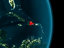 Dominikanska republiken på natten Royaltyfri Bild
