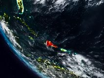 Dominikanska republiken på natten från utrymme Vektor Illustrationer