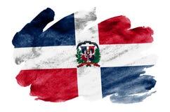 Dominikanska republikenflaggan visas i vätskevattenfärgstil som isoleras på vit bakgrund royaltyfri illustrationer