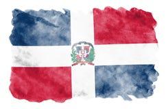 Dominikanska republikenflaggan visas i vätskevattenfärgstil som isoleras på vit bakgrund stock illustrationer