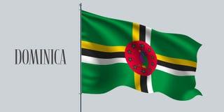 Dominikisk vinkande flagga på flaggstångvektorillustration vektor illustrationer