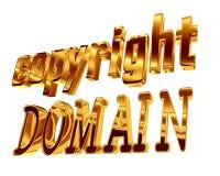Dominio del copyright del testo dell'oro su un fondo bianco Fotografie Stock