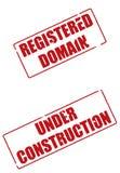 Dominio registrado y bajo sellos de la construcción Imágenes de archivo libres de regalías