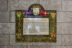 Dominion of Canada. Plaque in the Parliament of Canada, Ottawa stock photography