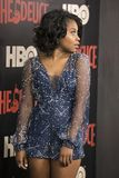 Dominique Fishback. Actress Dominique Fishback arrives on the red carpet for the New York premiere of HBO`s multi-part drama, `The Deuce.`  The dramatic Stock Image