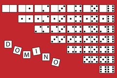 Domino. Illustration of a background with tiles of domino game,isolated on red.EPS file available Royalty Free Stock Image