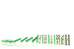 Domino. Suit of dominoes falling down royalty free stock photography