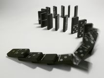 Domino. Line of domino fall down Royalty Free Stock Photo