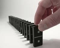 Domino. Line of domino - shortly before starting Royalty Free Stock Photos